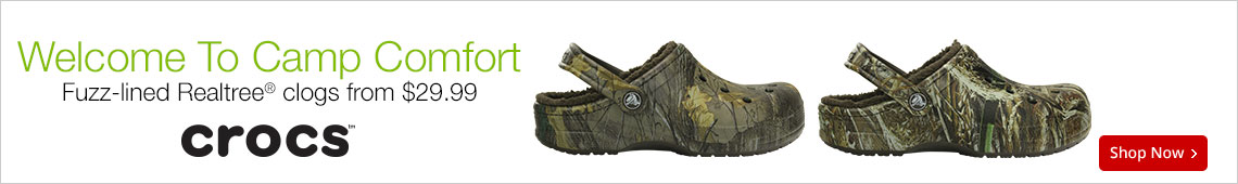 Welcome To Camp Comfort Fuzz-lined Realtree Clogs From $29.99 Crocs