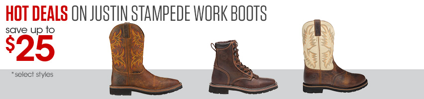 Hot Deals On Justin Stampede Work Boots Save Up To $20
