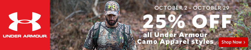 October 2nd through October 29th 25% Off All Under Armour Camo Apparel Styles