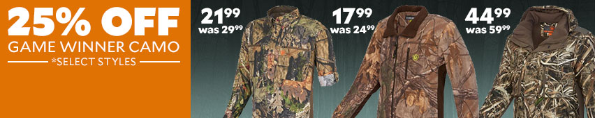 25% Off Game Winner Camo Select Styles