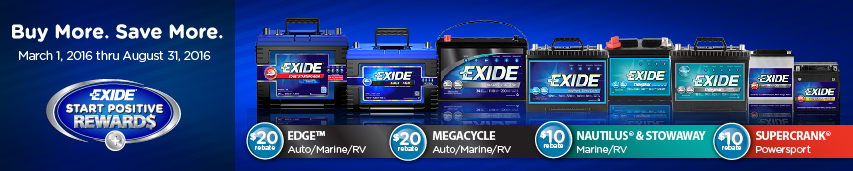 Buy More. Save More. March 1, 2016 thru August 31, 2016 Exide Start Positive Rewards