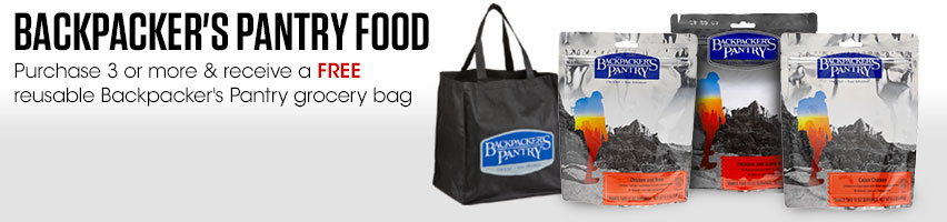 Backpacker's Pantry Food. Purchase 3 or more & receive a FREE reusable Backpacker's Pantry grocery bag