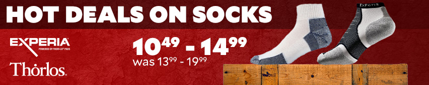 Hot Deals On Socks Experia Thorlos $10.49-$14.99 Was $13.99-$19.99