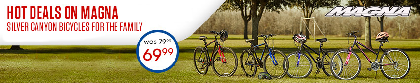 Hot Deals On Magna Silver Canyon Bicycles For The Family $69.99 Was $79.99