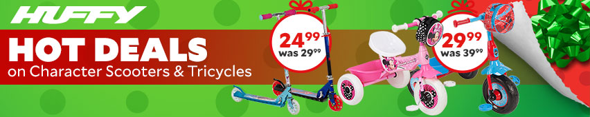 Huffy Hot Deals On Character Scooters & Tricycles