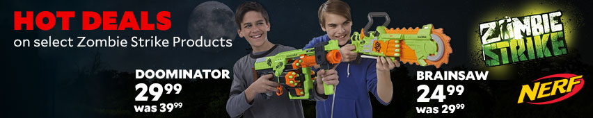 Hot Deals On Select Nerf Zombie Strike Products Doominator $29.99 Was $39.99 Brainsaw $24.99 Was $29.99