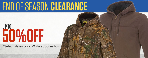 End of Season Clearance. Up to 50% Off. Select Styles only. While Supplies last.