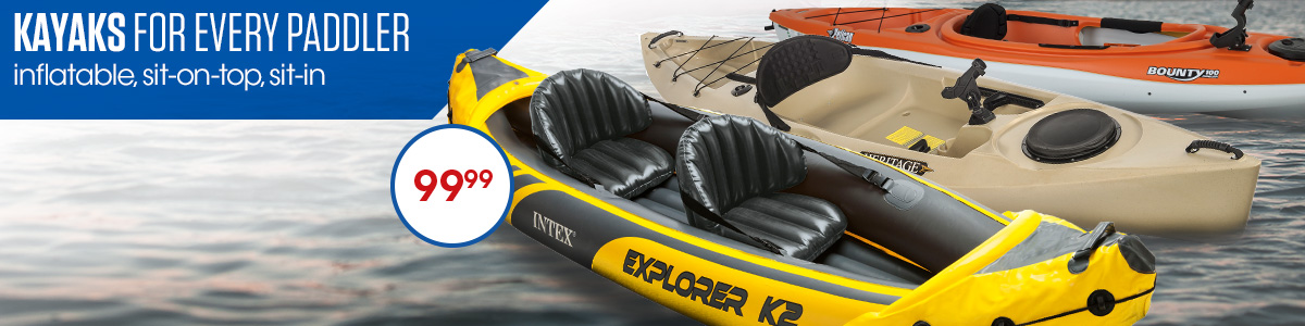 Kayaks For Every Paddler. Inflatable Sit In Sit On Top. Starting at 99.99
