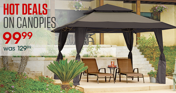 Hot Deals on Canopies. Mosaic Pop-Up Gazebo was $129.99, Now $99.99.