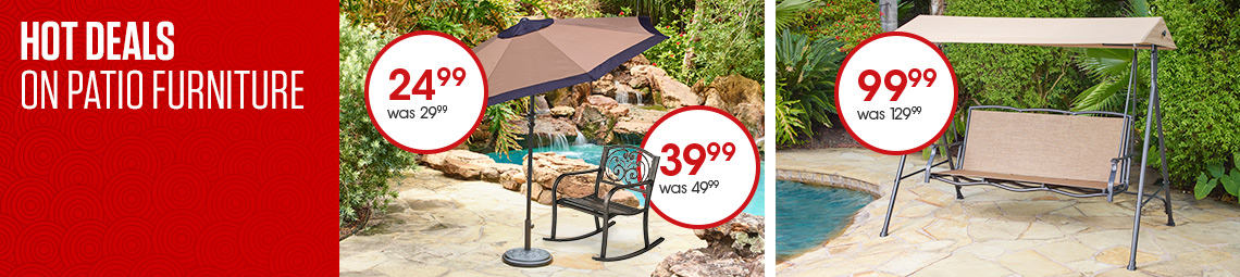 Hot Deals on Patio Furniture. Mosaic Round Steel Market Umbrella, was $29.99, now $24.99. Mosaic Ivy Rocker, was $49.99, now 39.99. Mosaic 3-Person Canopy Swing, was $129.99, now $99.99.