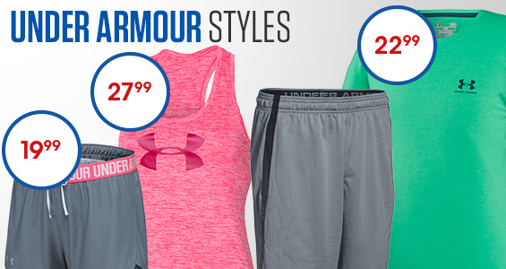 Under Armour Styles. Men's Charged Cotton Sportstyle Left Chest Logo T-shirt only $22.99. Women's Graphic Twist Tech Tank Top only $27.99. Women's Play Up Short on Hot Deal for only $19.99.