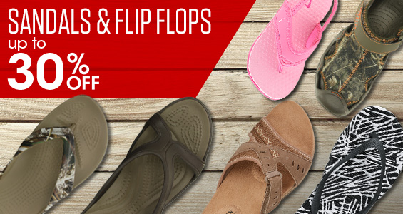 Sandals and Flip Flops Up to 30% off .