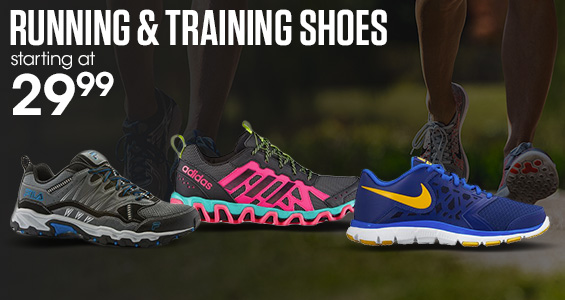 Running and Training Shoes starting at $29.99