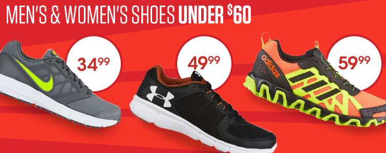 Men's & Women's Shoes Under $60. Nike Men's Downshifter 6 Running Shoes $34.99. Under Armour Men's Thrill 2 Running Shoes $49.99. adidas Men's Incision Trail Running Shoes $59.99