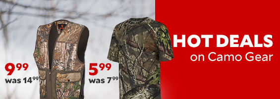 Hot Deals on Camo. Men's Hill Zone Tshirt, $5.99, was $7.99. Piedmont Camo Dove Vest, $9.99, was $14.99.