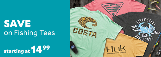 Fishing Tees by top brands starting at $14.99.