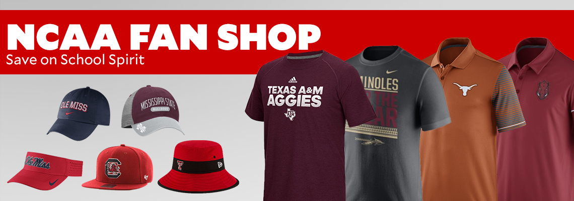 NCAA Fan Shop. Save on school spirit and rep your team with polos, tees, and caps.