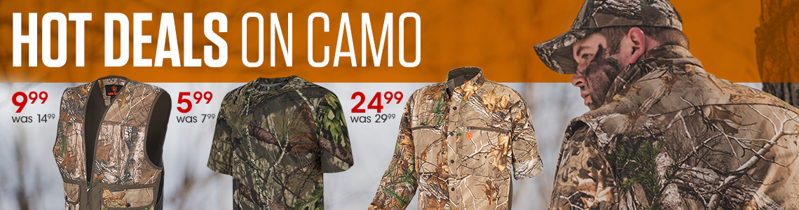Hot Deals on Camo. Men's Hill Zone Tshirt, $5.99, was $7.99. Piedmont Camo Dove Vest, $9.99, was $14.99. Men's Eagle Pass Shirt, $24.99, was $29.99.