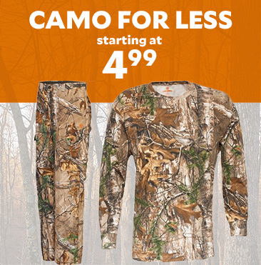 Camo For Less. Camo Starting at $4.99