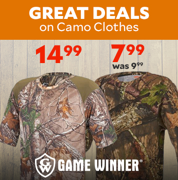 Hunting & Camo Clothes for Everyone. Game Winner Men's Hill Zone Camo Long Sleeve T-shirt $7.99, was $9.99. Game Winner Men's Eagle Bluff Short Sleeve Camo T-shirt only $14.99.