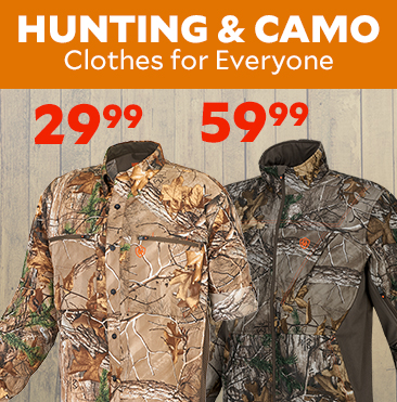 Hunting & Camo Clothes for Everyone. Game Winner Men's Eagle Pass Deluxe Long Sleeve Camo Shirt only $29.99. Game Winner Men's Savannah Softshell Jacket only $59.99.