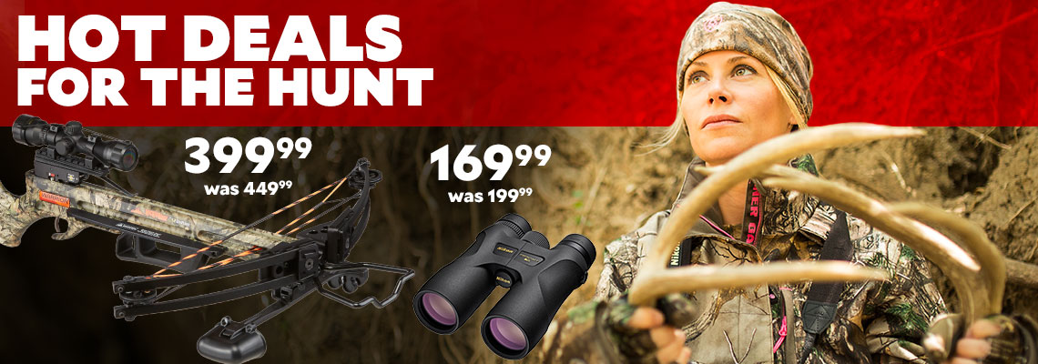 Hot Deals For the Hunt. Wicked Ridge Warrior G3 Compound Crossbow Package $399.99, was $449.99. Nikon PROSTAFF 7S 10 x 42 Binoculars $169.99, was $199.99.