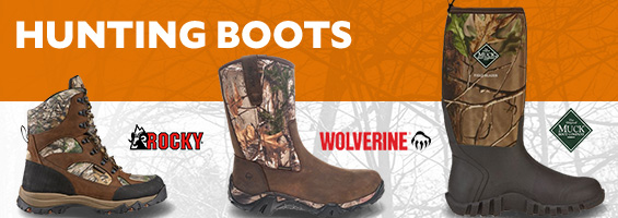 Hunting Boots for any hunter in the best brands. Rocky, Wolverine, Muck boots at great prices.