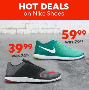 Hot Deals on Nike shoes. Nike Men's FS Lite Run 3 Running Shoes $39.99, was $74.99. Nike Women's Flex 2016 Running Shoes $59.99, was $79.99.