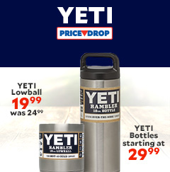 Price Drop on Yeti Bottles & Yeti Lowball. Yeti Lowball Now $19.99 was $24.99. Yeti Bottles starting at $29.99