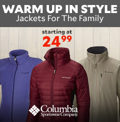 Warm up in style with Jackets for the Family starting at $24.99.