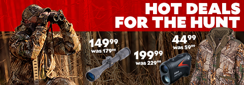 Hot Deals for the Hunt.Nikon Prostaff 3i Laser Range Finder, $199.99, was $229.99. Nikon ProStaff BDC 3 - 9 x 40 Riflescope, $149.99, was $179.99. Game Winner Men's Ozark Camo Insulated Waist Jacket $44.99, was $59.99.