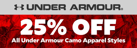 25% Off on all Under Armour Camo Apparel Styles.