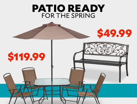 Patio Ready for the Spring. Mosaic 6-piece folding patio set $119.99. Mosaic Ivy Bench $49.99.