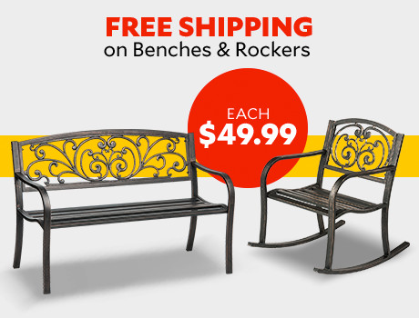 Free Shipping on Benches and Rockers. $49.99 each.