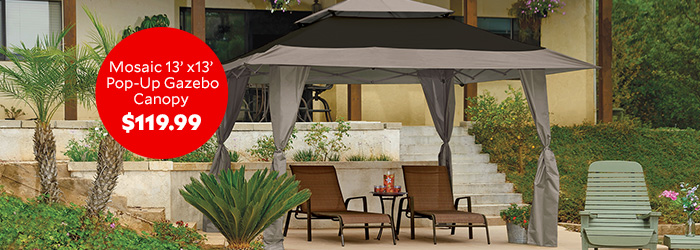 Mosaic 13 foot by 13 foot Pop Up Gazebo Canopy $119.99