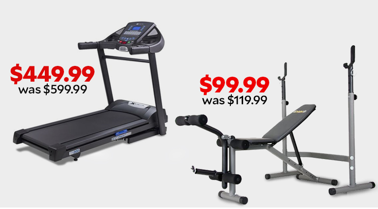 XTERRA Fitness TR300 Treadmill $449.99, was $599.99. Body Champ Olympic Weight Bench $99.99, was $119.99.