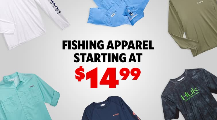 Fishing Apperal Starting At $14.99