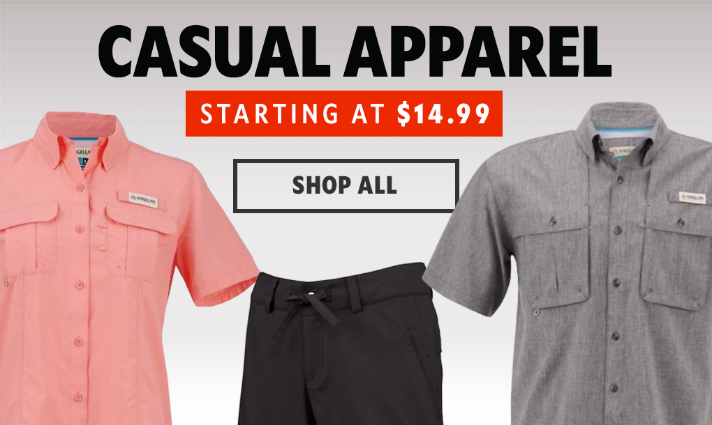 Casual Apparel Starting At $14.99, Shop All